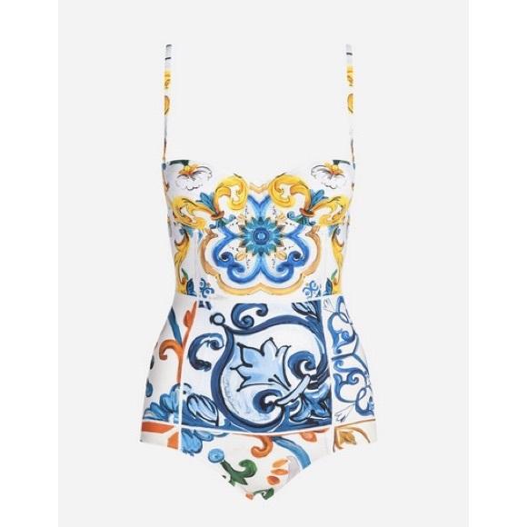 1db31543a09 Dolce & Gabbana Swim | Dolce Gabbana Onepiece Majolica Print Suit ...